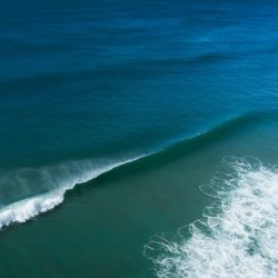 spectacular blue sea with foamy waves in sunlight
